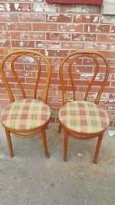 Thonet Style Bentwood Cafe Chairs 2 Red Plaid Fabric Over Vinyl Seats