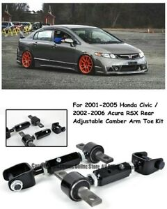 Black Coated Rear Adjustable Alignment Camber Arm Toe For 01 05 Civic 02 06 Rsx