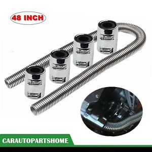 48 Stainless Steel Radiator Flexible Coolant Water Hose Kit W Caps Universal