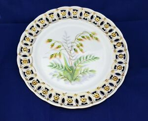 Vintage Plate Hand Painted Porcelain Reticulated Lattice Edge Delicate Flowers