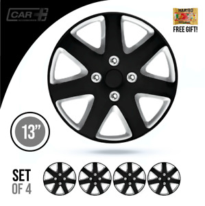 Set Of 4 Hubcaps 13 Wheel Cover Silverstone Black Universal Fit Easy To Install