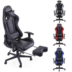 Racing Chair High Back Gaming Chair Ergonomic Recliner Office Desk Seat Footrest