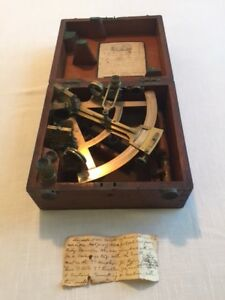 Vintage Antique Brass Sextant Made In 1897 Cary London Owned By Gerald Johnson