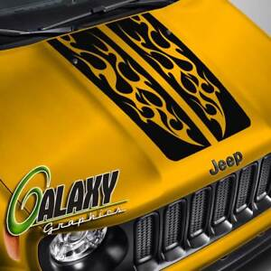 Hood Decal For Jeep Renegade Rally Stripe Flame Blackout Hood Sticker