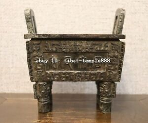 7 Chinese Pure Bronze Peace And Prosperity Square Ding Incense Burners Censer