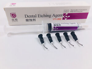 Dental Etch Syringe 5ml Black Needle Tips Acid Etching Gel 37 Phosphoric Acid