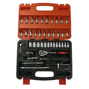 Car Repair Tool 46pcs 1 4 inch Socket Set Ratchet Wrench Combo Tools Kit Auto