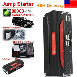 80000mah Car Jump Starter Battery Booster Charger 4usb Power Bank Led Light Us