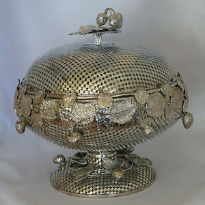 Large Antique Silver Plated Silverplate Fruit Bowl Basket
