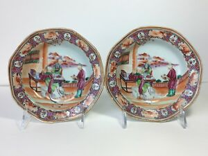 Pair Of 18th C Chinese Export Plates Dish Qianlong Period