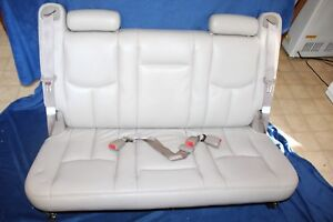00 06 Chevy Suburban 3rd Third Row Bench Seat Tan Leather W Belts Nice