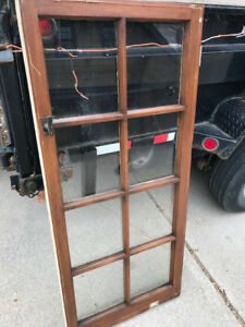 Vintage Antique Wood Window Sash Frame Painted And Natural Wood Finish