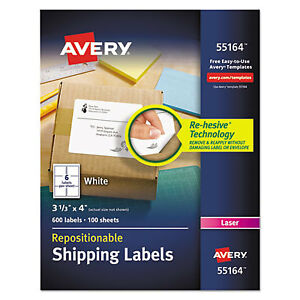 Repositionable Shipping Labels Inkjet laser 3 1 3 X 4 White 600 box 55164