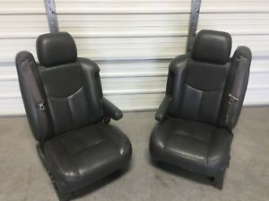 1999 2006 99 06 Chevy Silverado Tahoe Sierra Suburban Gray Leather Front Seats