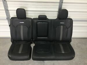 2017 2018 Ford F250 F350 Super Duty Rear Seat Platinum Black Leather 60 40 Nice