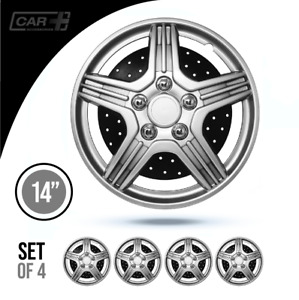 Set 4 Hubcaps 14 Wheel Cover Bahrain Silver Black Abs Easy To Install Universal
