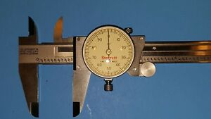 Nice Starrett 120 0 6 Stainless Dial Calipers Case White Face Made In The Usa