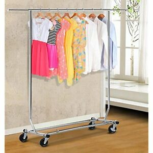 Commercial Garment Racks Use Single Rail Collapsible folding Rolling Heavy Duty