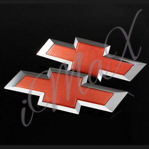 For 2014 2015 Gm Chevy Silverado Red Front Grill Tailgate Bowtie Emblem Set