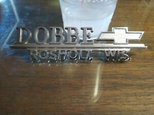 Dobbe Chevrolet Chevy Bowtie Emblem Vintage Dealership Trunk Badge Rosholt wi