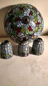 Antique Stained Glass Flush Mount Ceiling Fixture Matching Shades Rare Deco