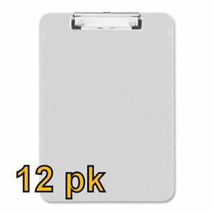 Value Pack Of 12 Low Profile Plastic Clipboards Letter Size clear Clear