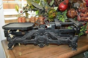 Antique German Large Scale 10kg Black Iron Balance Figural Females Dragons