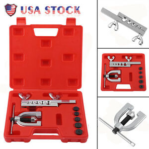 Double Flaring Brake Line Tool Kit Tubing Car Truck W Adapter Automotive Tool B
