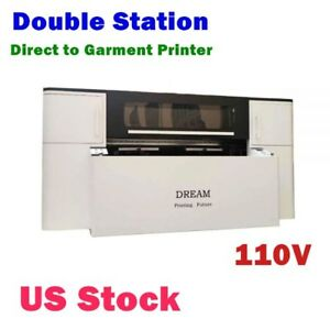 Double Station Direct To Garment Printer With 4 Panasonic Printheads 110v Usa