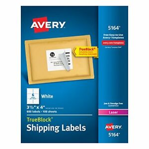 Shipping Labels For Laser Printers With Trueblock Technolog White Box Of 600