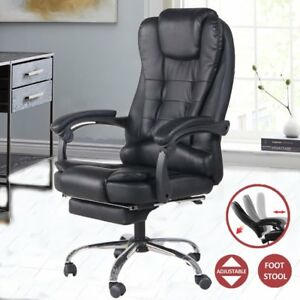 Executive Gaming Swivel Office Chair pull out Footrest High Back Pu Leather Bp