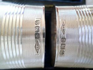 2 Vintage H Brothers Sterling Silver Napkin Rings Birmingham England Case Box