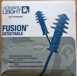 Howard Leight Fusion Metal Detectable Corded Ear Plugs Fdt30 sm Box Of 100 Pair