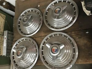 1963 1963 5 Ford Galaxie Hubcaps Set Of 4 Oem 14 Inch 14 Factory Chrome Steel
