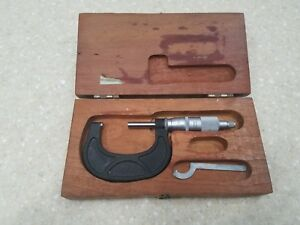 Scherr Tumico 1 2 Mechanical Outside Micrometer 0001 Metal Working Wood Box