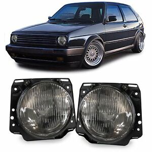 Smoked Crystal Finish Headlights Front Lights For Vw Golf 2 83 91