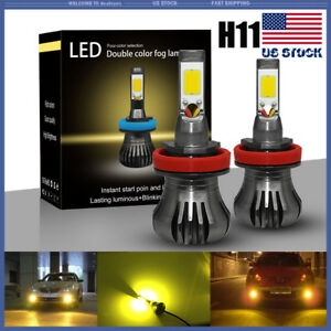 2pcs H11 H8 100w Cob Csp 3000k Led Strobe Flashing Fog Light Bulbs Amber Yellow