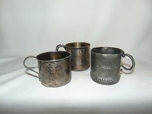 Silverplate Baby Cups Lot Of 3