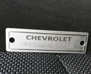 1953 1963 Chevrolet Id Data Plate With Your Vin Number And 2 Holes