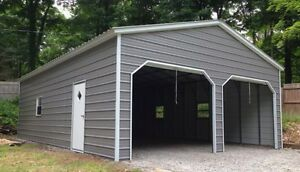 22 X 26 X 9 Metal Building Delivered And Installed Two Car Garage And Storage