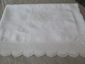 Antique Linen W Point De Venise Lace Fillet Lace Embroidery Tablecloth 70 X 105