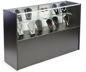 58 Black Retail Counter Display Showcase W Cabinet Base Adjustable Glass Shelf