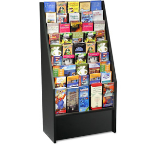 24 Black 9 Tier Wood Literature Stand For Floor With 45 Adjustable Wire Pockets