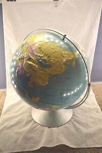 Vintage Nystrom Intermediate Physical World 16 Globe 33 R47 With Round Base