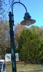 Vintage Street Light Lamp With Pole 12 Arched W Acorn Globe Triboro Bridge Ny