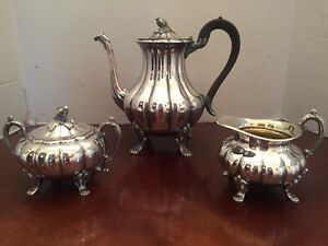 Antique Silver Plate Heirloom Old English Melon 3 Piece Coffee Set