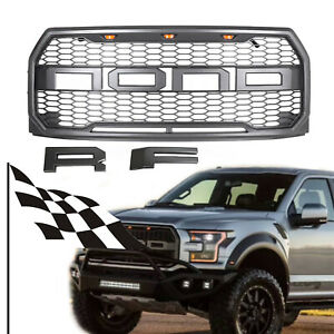 Fit 2015 2017 F150 Raptor Style Front Bumper Hood Mesh Grille W Led Gray