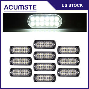 10pcs White 12 Led Strobe Light Car Truck Beacon Flash Warning Hazard Emergency