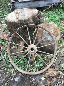 Vtg Industrial Primitive Farm Country Cast Iron Metal Wagon Wheel Tractor 24in