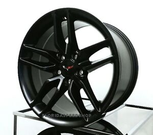 New C7 Z51 Style Corvette Wheels Satin Black 18 19 Fits 2005 2013 C6 Base
